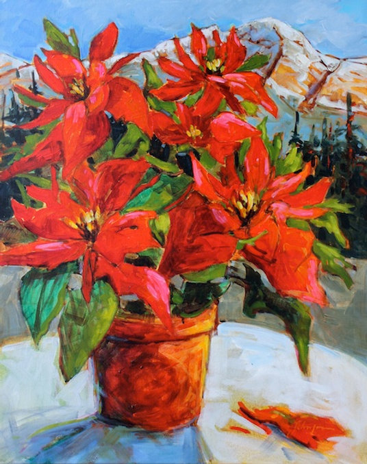 multi-colour acrylic painting titled Poinsettia with Pyramid Mountain by artist gail johnson.