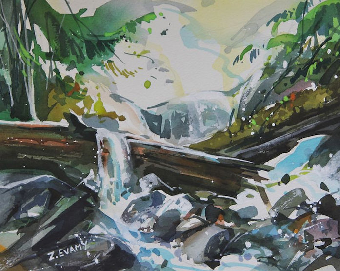 multi-colour watercolour painting titled SOLD-Shannon Falls by artist zoe evamy