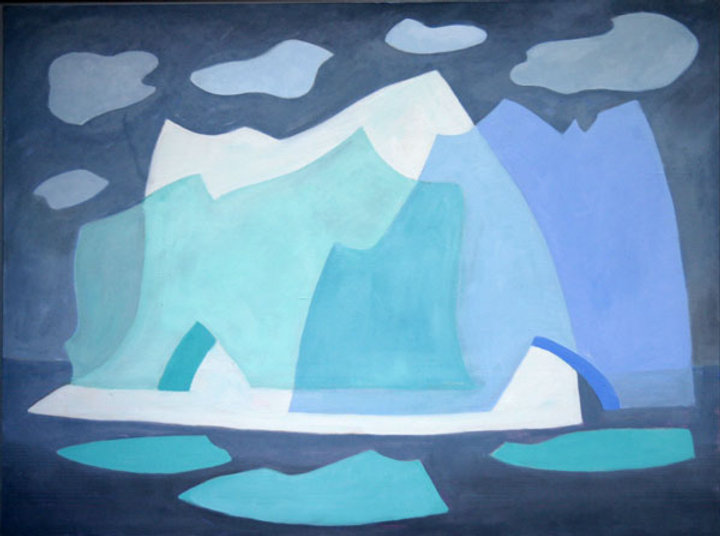 multi-colour oil painting titled SOLD- Untitled - Icebergs 2005 by artist doris mccarthy.