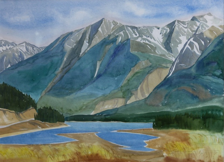multi-colour watercolour painting titled From the Bridge looking toward Colin Range by artist doris mccarthy.