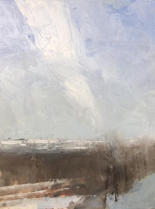 multi-colour oil painting titled Snowlines in the Foothills by artist david sharpe.