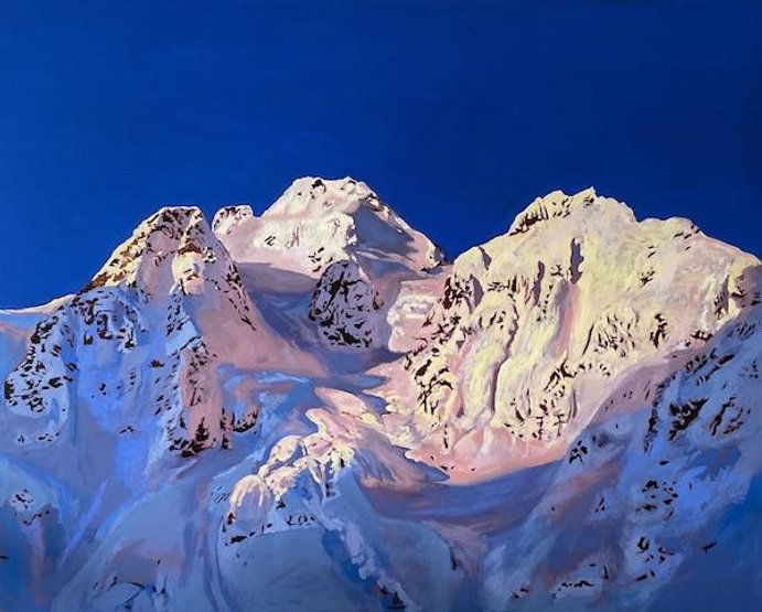 multi-colour oil painting titled Mt Matier by artist stephanie taylor.