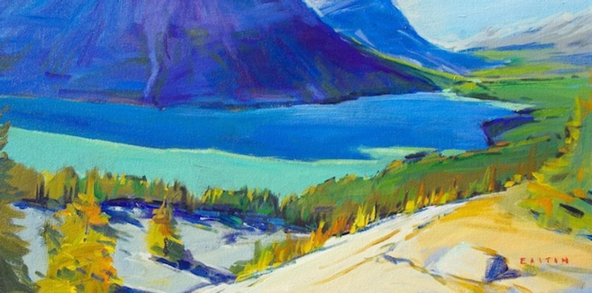 multi-colour arcylic painting titled Peyto Blues by artist charlie easton