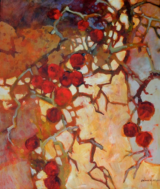 multi-colour arcylic painting titled Late Apples by artist brian atyeo