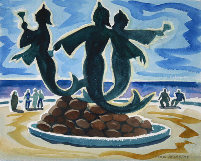 multi-colour watercolour painting titled Mermaids of the Casbah 2001 by artist doris mccarthy.