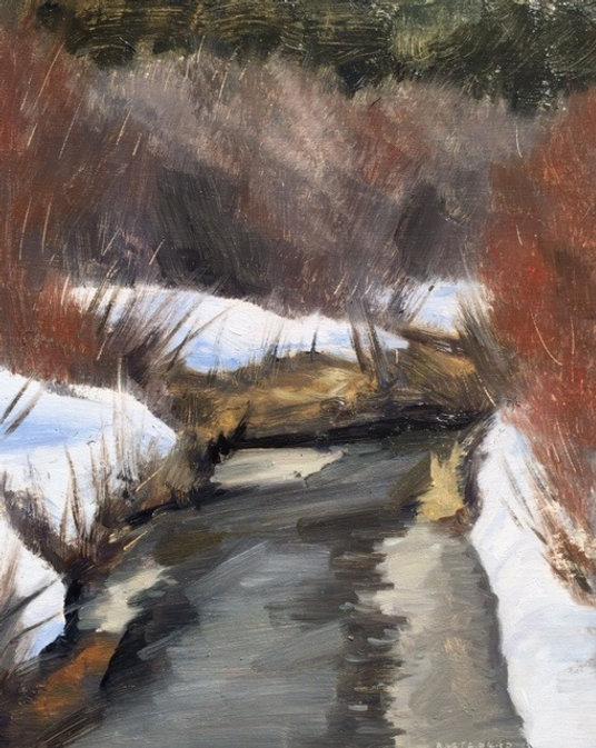 multi-colour oil painting titled Medicine Lake Creek by artist  jason bartziokas