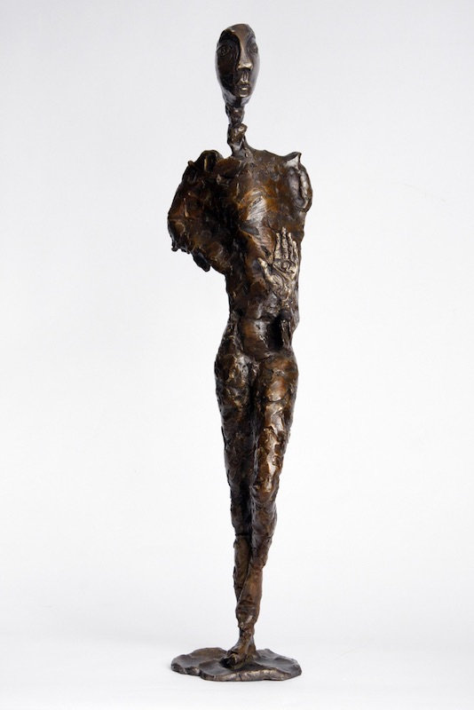 bronze sculpture titled Man with Raised Hand by artist camie geary-martin.
