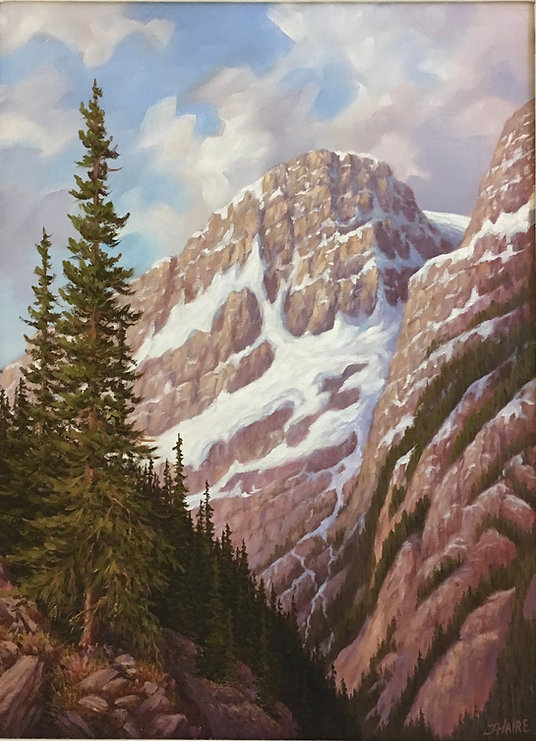 multi-colour oil painting titled Along the Banff Jasper Highway - Icefields Parkway by artist joe haire.
