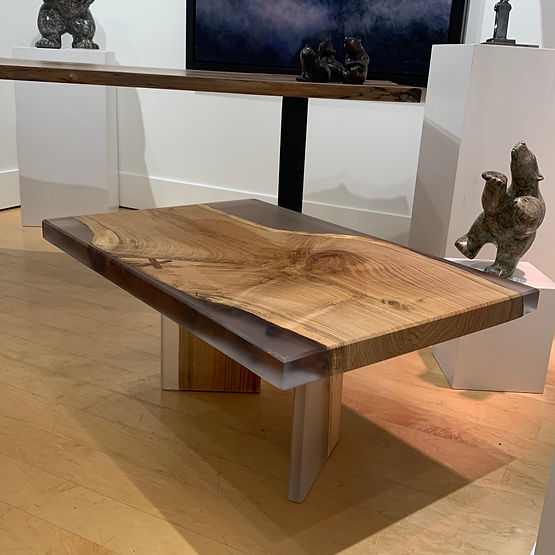 furninture titled Butternut and Resin coffee Table by artist benjamin mclaughlin.