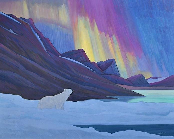 multi-colour oil painting titled Blazing Polar Lights by artist nicholas bott