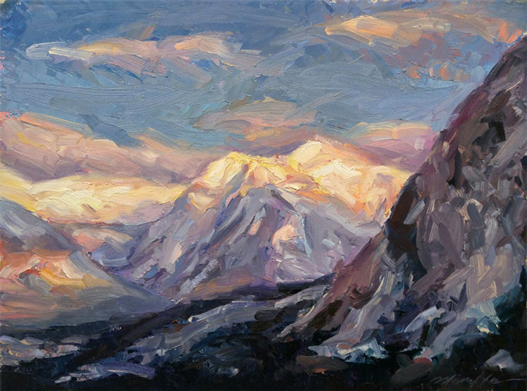 multi-colour oil painting titled early evening light by artist michael downs
