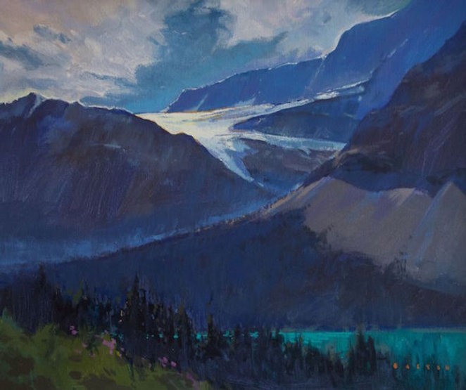 multi-colour arcylic painting titled Crowfoot Glacier Sparkle by artist charlie easton.