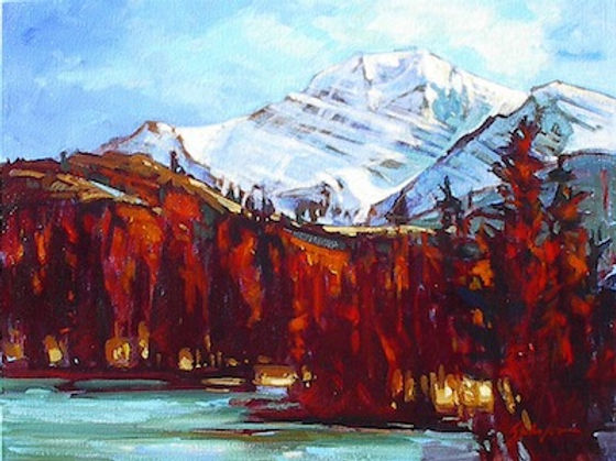 multi-colour acrylic painting titled Mt. Edith Cavell Autumn by artist gail johnson.
