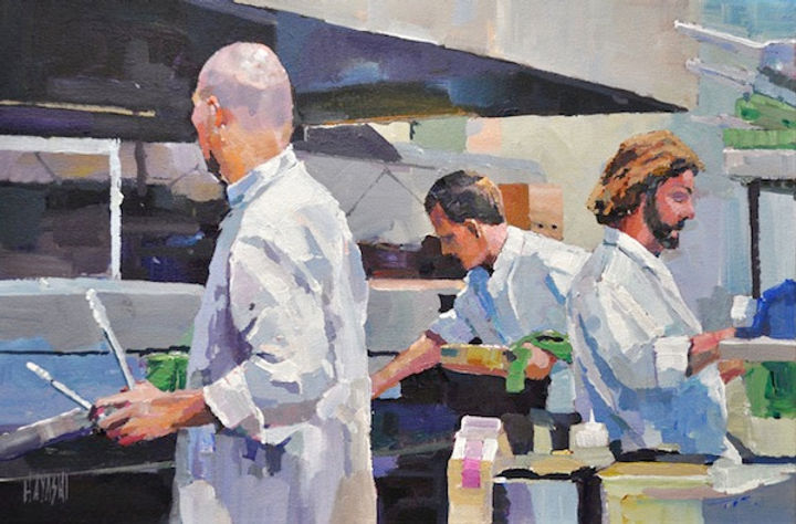 multi-colour arcylic painting titled Kitchen Crew by artist randy hayashi.