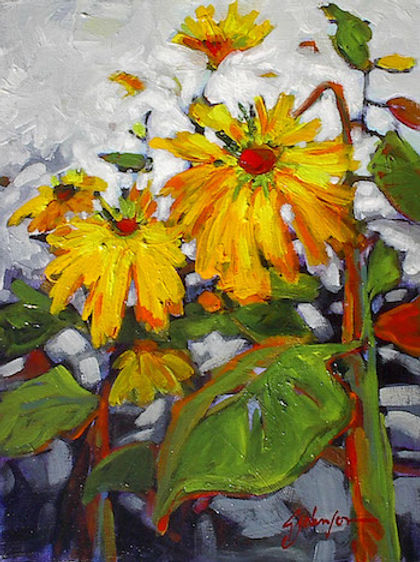 multi-colour acrylic painting titled Free and Easy by artist gail johnson.
