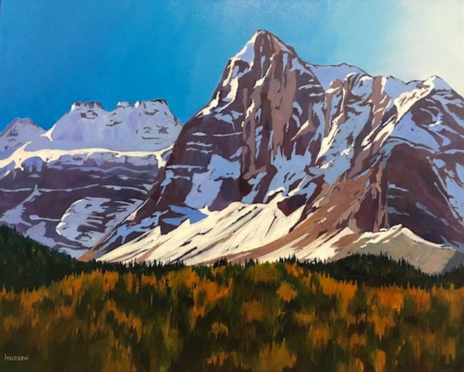 multi-colour acrylic painting titled The Tower of Babel with Mt. Fey by artist phillipa hudson.