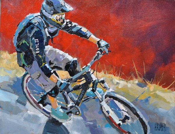 multi-colour arcylic painting titled Red Rider by artist randy hayashi.