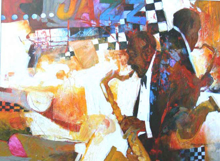 multi-colour mixed media painting titled Two Taking One by artist brian atyeo