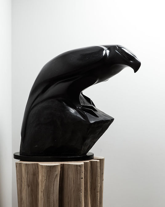 argillite sculpture titled SOLD-The Guardian - View 1 by sculptor cathryn jenkins.