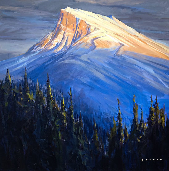 multi-colour arcylic painting titled Rundle above by artist charlie easton