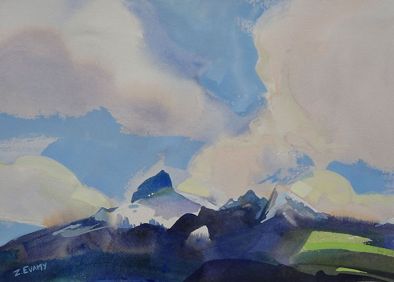multi-colour watercolour painting titled Tantalus and Dion by artist zoe evamy