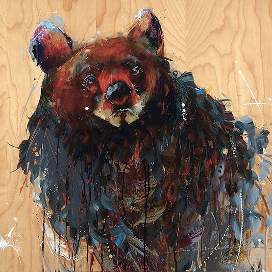 Multi-colour arcylic painting of a bear titled Roger That by artist fran alexander