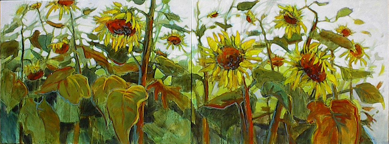 multi-colour acrylic painting titled Great Days Dawning - Diptych by artist gail johnson.