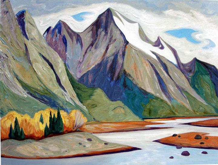 multi-colour oil painting titled Medicine Lake 2000 by artist doris mccarthy.