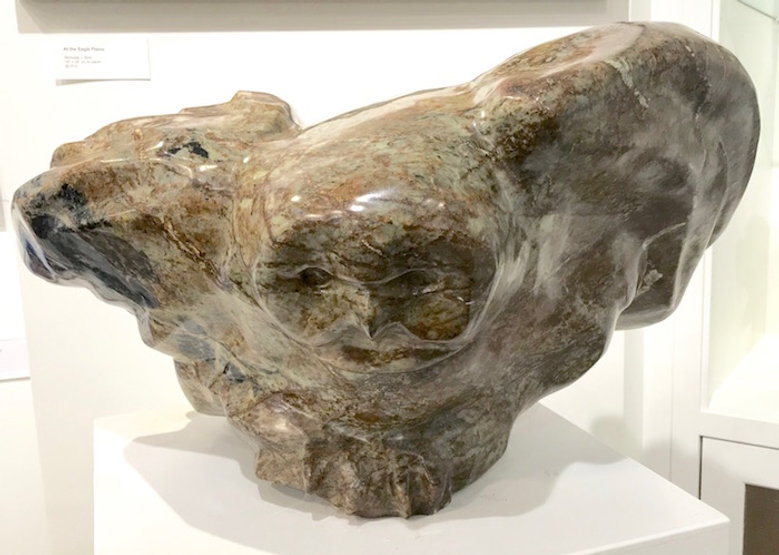 serpentine stone sculpture titled SOLD- Perched by artist fran jenkins.