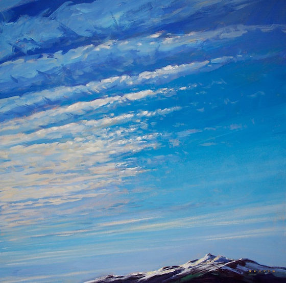 multi-colour arcylic painting titled Feathered Sky Over Whistler Mountain by artist charlie easton.