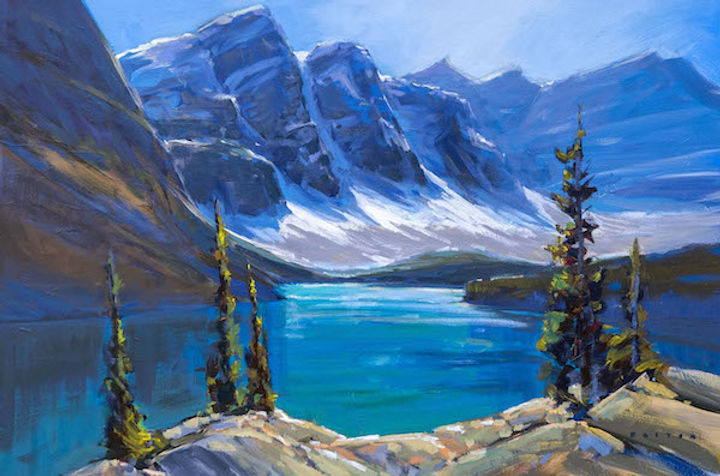 multi-colour arcylic painting titled Full Sun at Moraine Lake by artist charlie easton