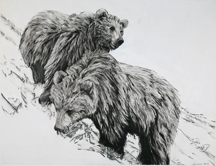 black and white charcoal painting titled chico and biscuit at 4years by artist maureen enns