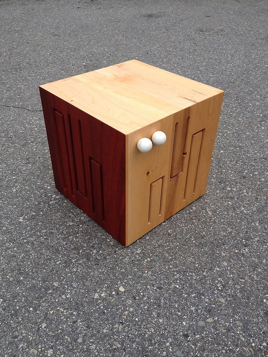 furninture titled SOLD-Cube Drum Musical Chairs by artist benjamin mclaughlin.