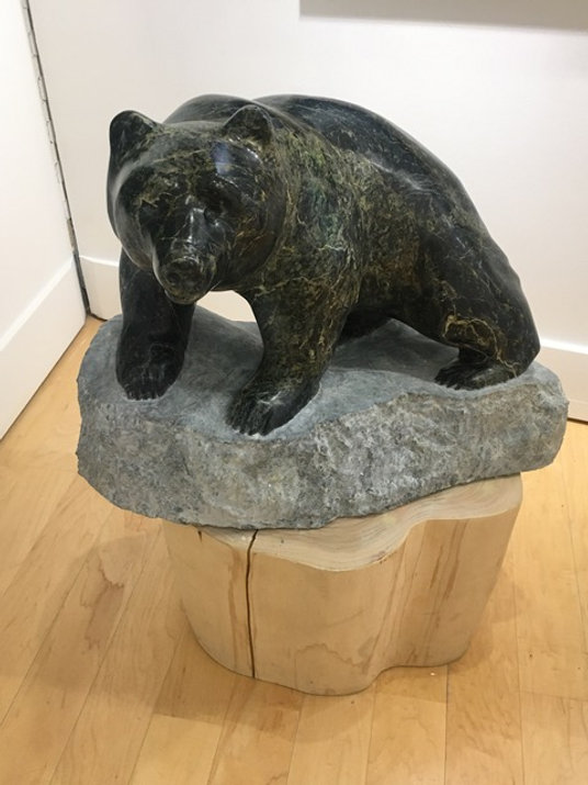 serpentine stone sculpture titled SOLD - Standing Her Ground by sculptor cathryn jenkins.