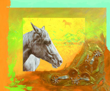 multi-colour mixed media painting titled Ray Well's Spurs by artist maureen enns