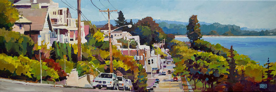 multi-colour arcylic painting titled White Rock View by artist randy hayashi.