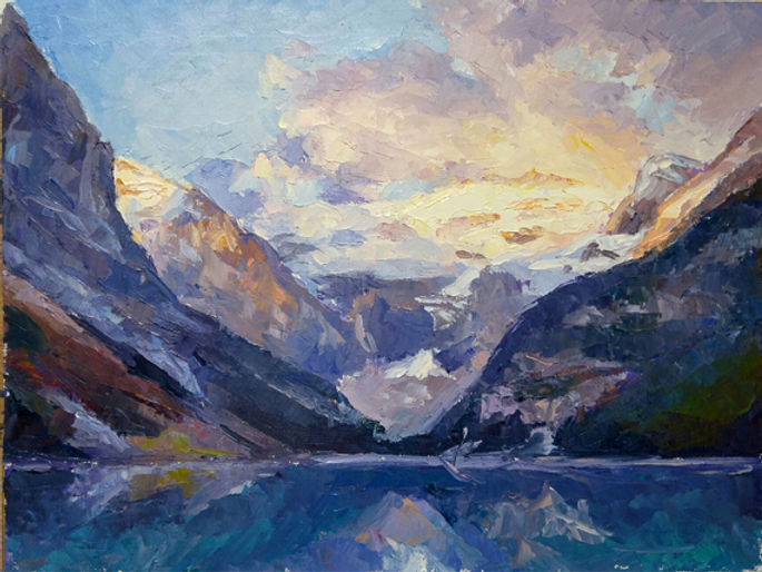 multi-colour oil painting titled Lake louise splendor three by artist michael downs