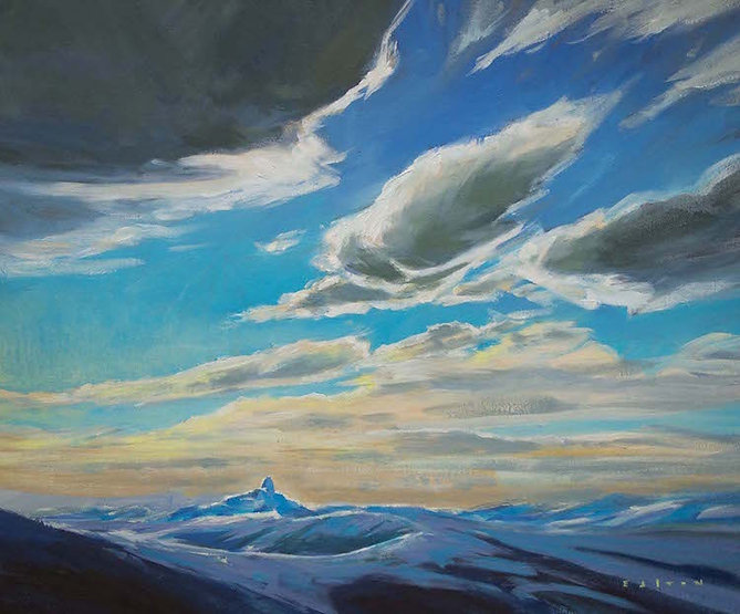 multi-colour arcylic painting titled Tusk Skies by artist charlie easton