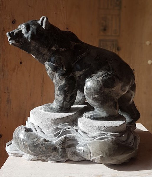 australian marble soapstone sculptor titled River King by sculptor andrew gable.