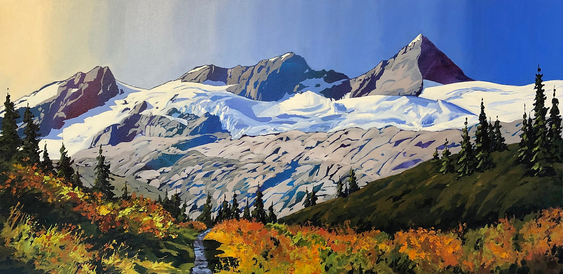 multi-colour acrylic painting titled Asulkan Valley at Roger's Pass by artist phillipa hudson.