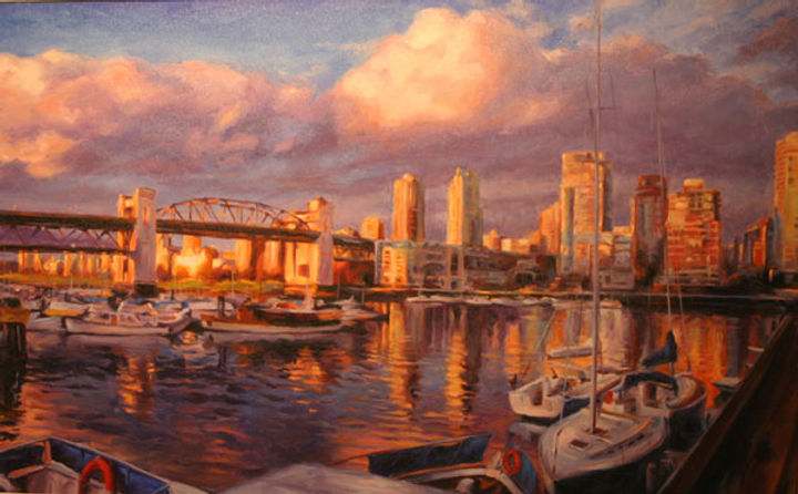 multi-colour arcylic painting titled The View Over Bridges by artist michael downs