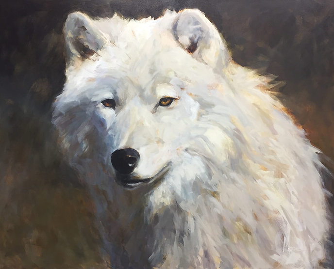 multi-colour acrylic painting titled SOLD - White Knight by artist andrea moore.