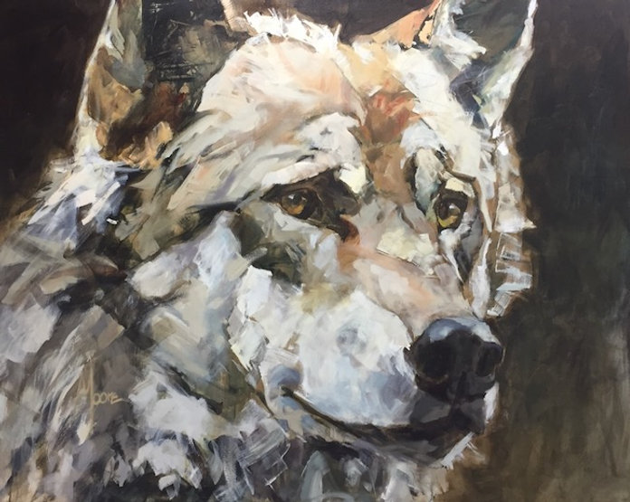 multi-colour acrylic painting titled One Handsome Fella by artist andrea moore.