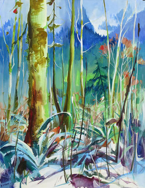 multi-colour arcylic painting titled Woodland by artist zoe evamy