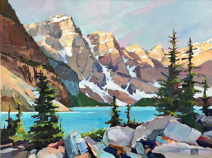 multi-colour arcylic painting titled 'cast shadows at moraine lake' by artist randy hayashi.