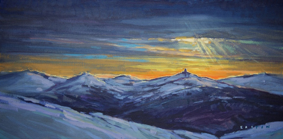 multi-colour arcylic painting titled Backlit Tusk by artist charlie easton
