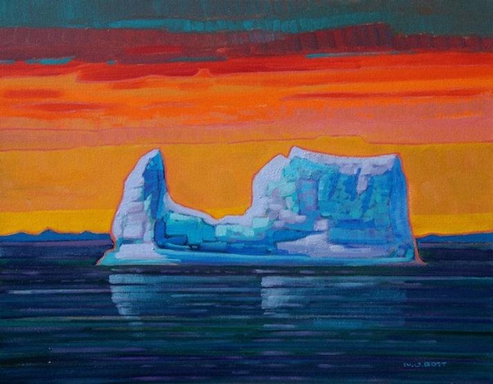 multi-colour acrylic painting titled Iceberg In Evening Light by artist nicholas bott
