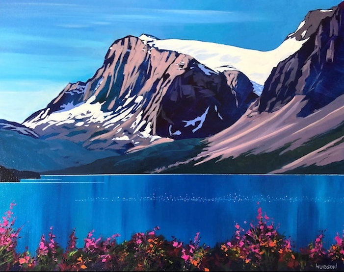 multi-colour acrylic painting titled Bow Lake by artist phillipa hudson.