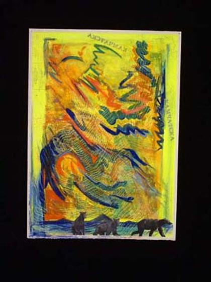 multi-colour mixed media painting titled Lakeshore Kambalnoye Lake by artist maureen enns