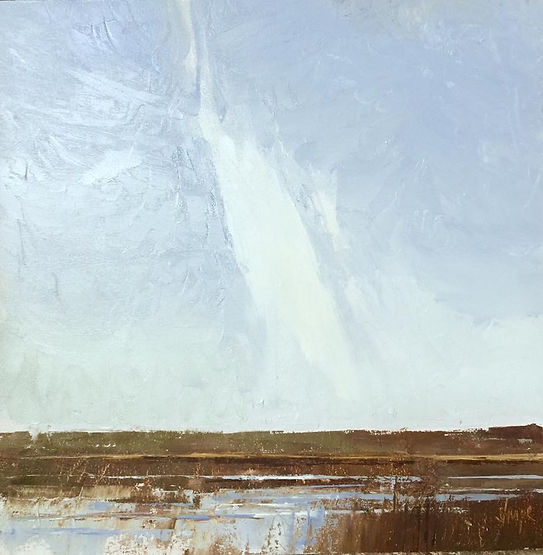 multi-colour oil painting titled High White Cloud by artist david sharpe.